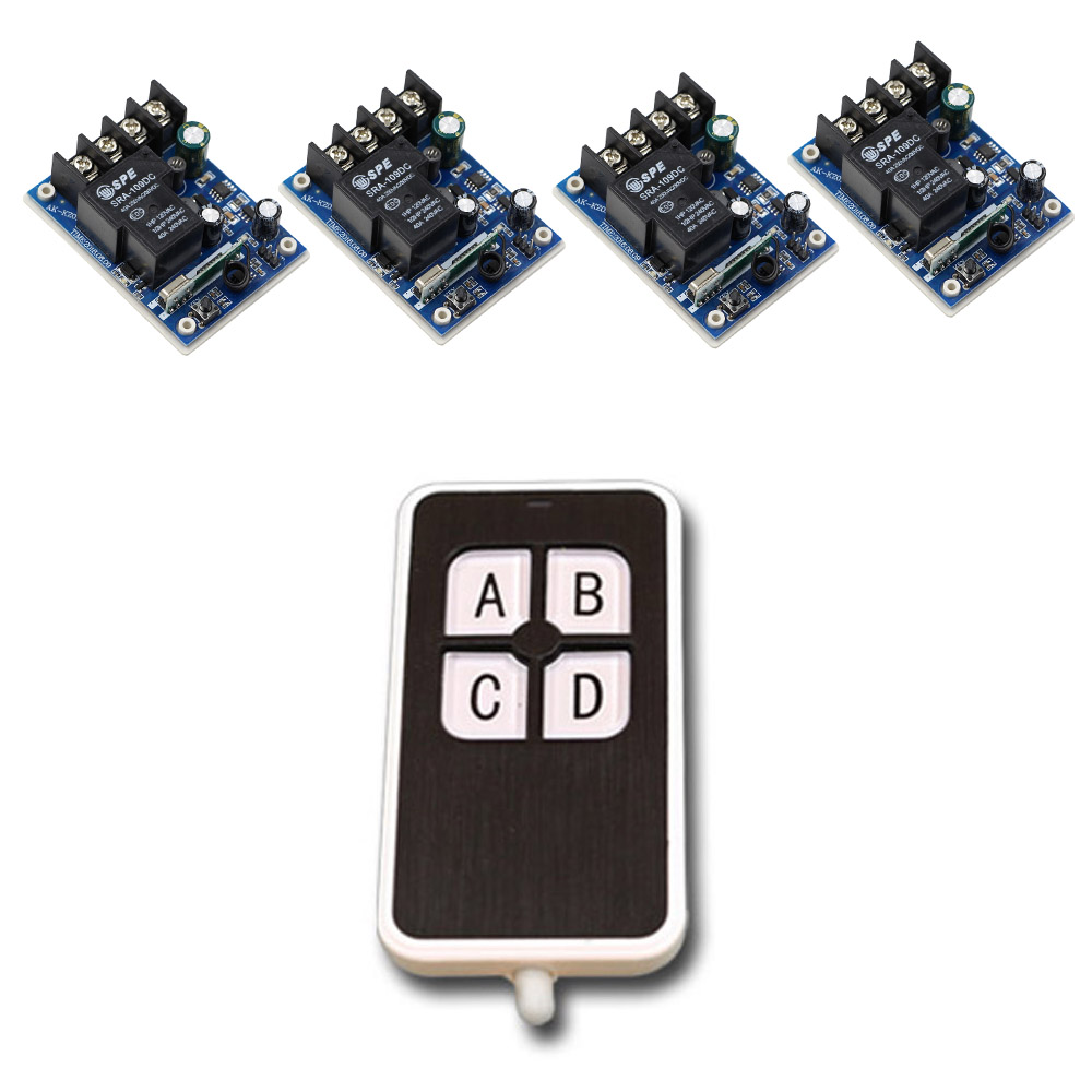 New Item DC12--48V 12V 24V 36V 48V 1CH 30A RF Radio Remote Control Relay Switch System 4Receiver& 4Keys Transmitter Light ON OFF цена 2017