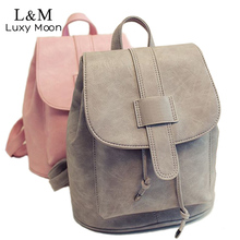 Женщины рюкзак Твердые Vintage рюкзаки для девочек школьные сумки для подростков известный бренд кожаный рюкзак черный Mochila XA567H