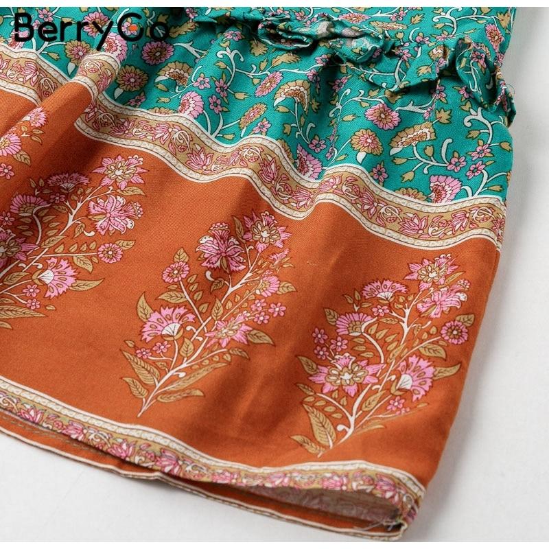 BerryGo women dresses Bohemian dresses print summer dress Short sleeve ruffled long maxi dress v-neck drawstring ladies vestidos 10