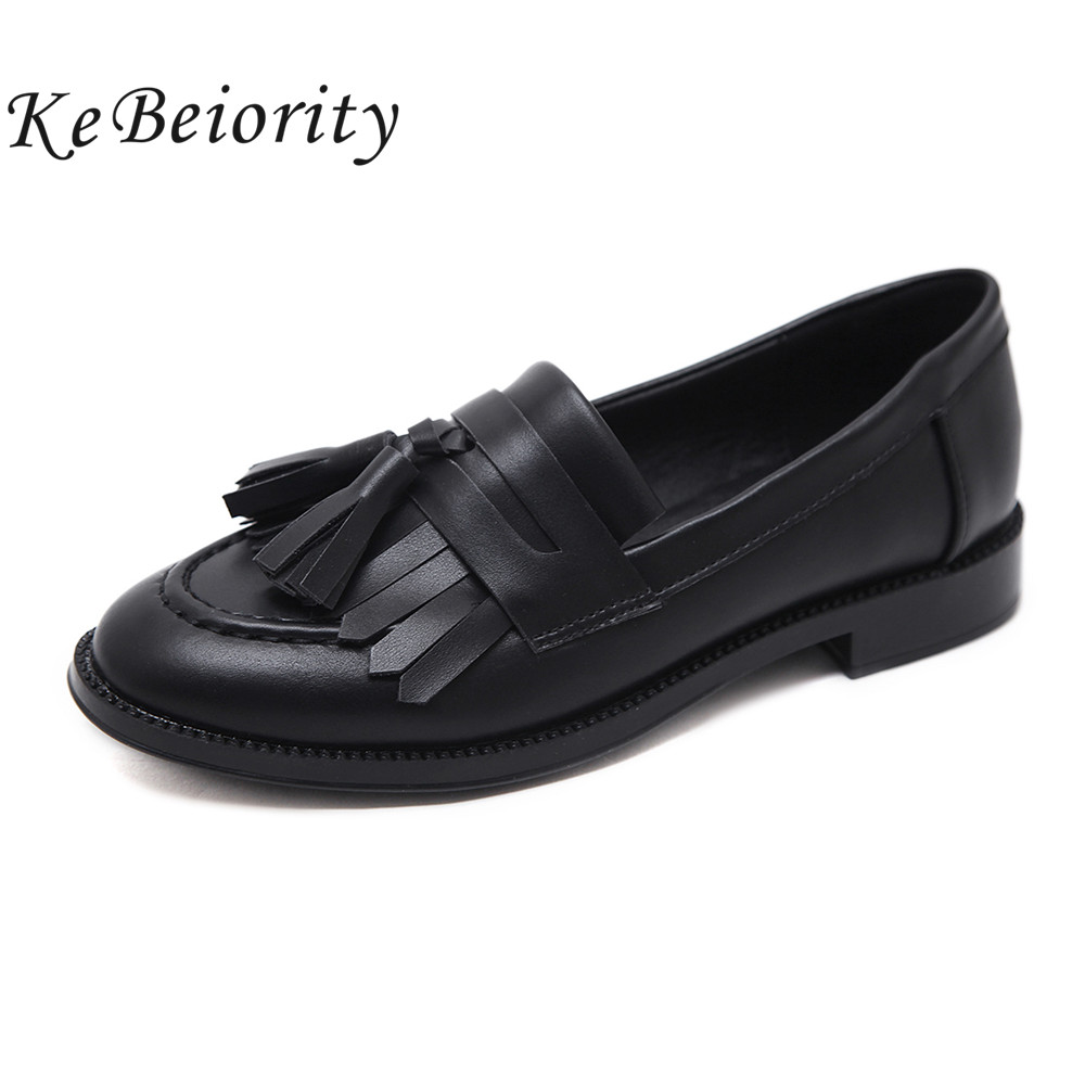 KEBEIORITY Women Flats Spring Autumn Casual Tassel Round Toe Black Oxford Shoes for Women Slip on Women Shoes Loafers 2018 2017 shoes women med heels tassel slip on women pumps solid round toe high quality loafers preppy style lady casual shoes 17