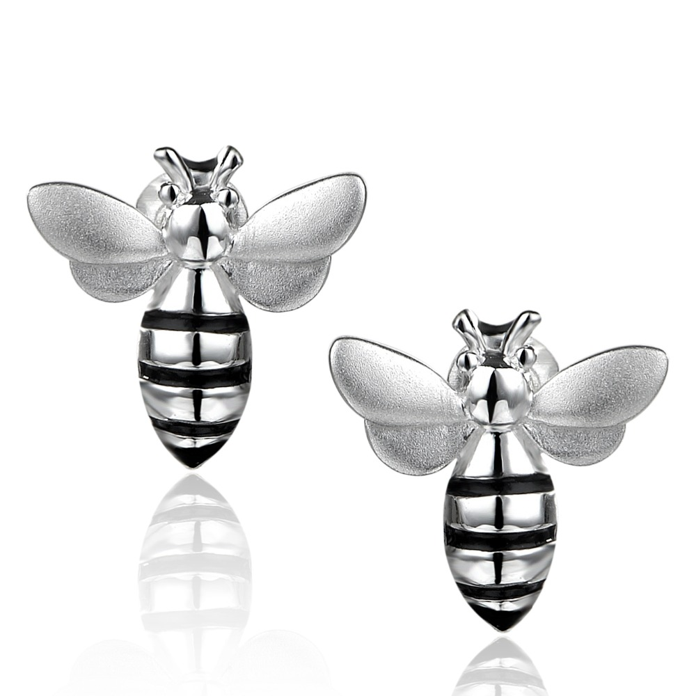 Dormith free shipping  Lovely Bee 925 sterling silver stud earrings for women Christmas gift plated