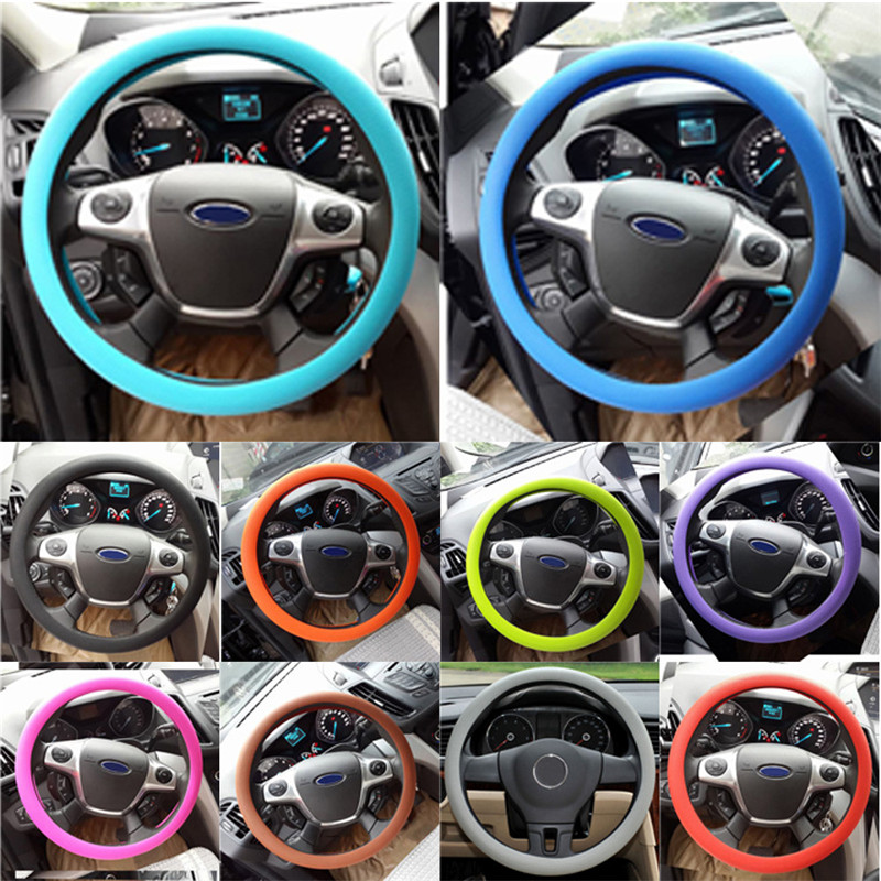 Kongyide Car Steering Wheel Cover Auto Decoration Texture Anti-Slip Car High Elastic Silicone 32-40cm  Mar12
