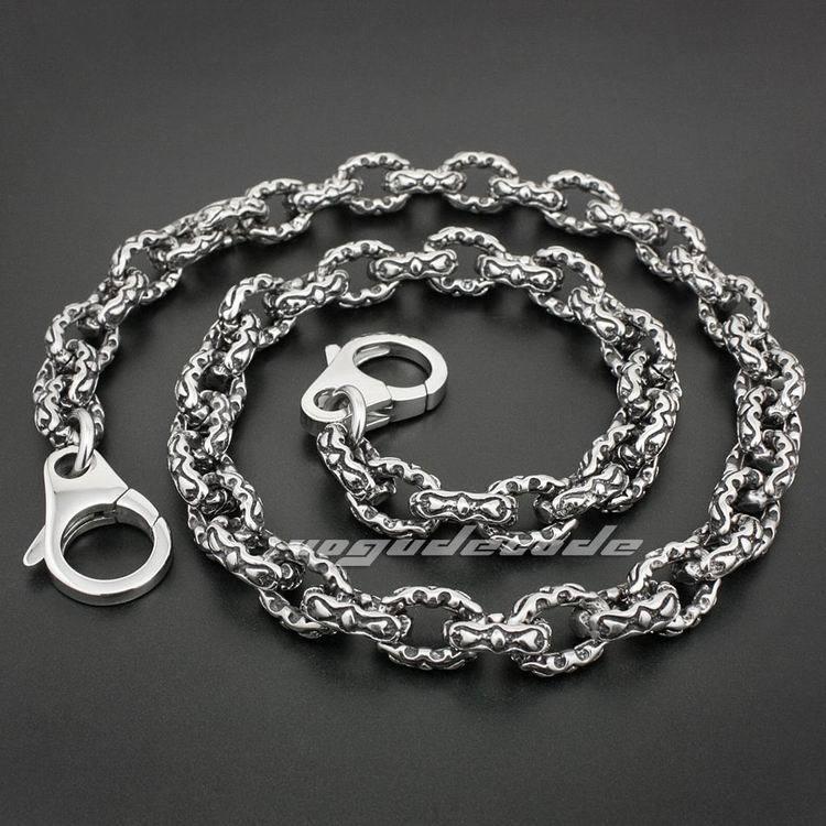 16 ~ 36 316L Stainless Steel Double Heart Mens Rocker Wallet Chain 5S003WC_#24