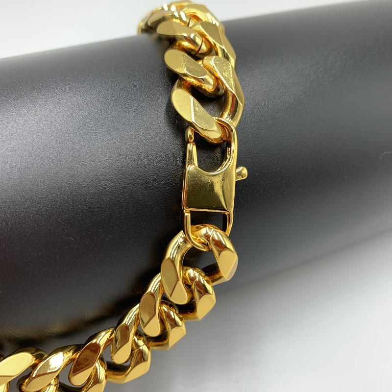 Stainless Steel Charm Bracelet Men 39 s Jewelry Miami Cuban Link Chain King Size Big Gold Chain 14mm Hip Hop Jewelry in Chain amp Link Bracelets from Jewelry amp Accessories