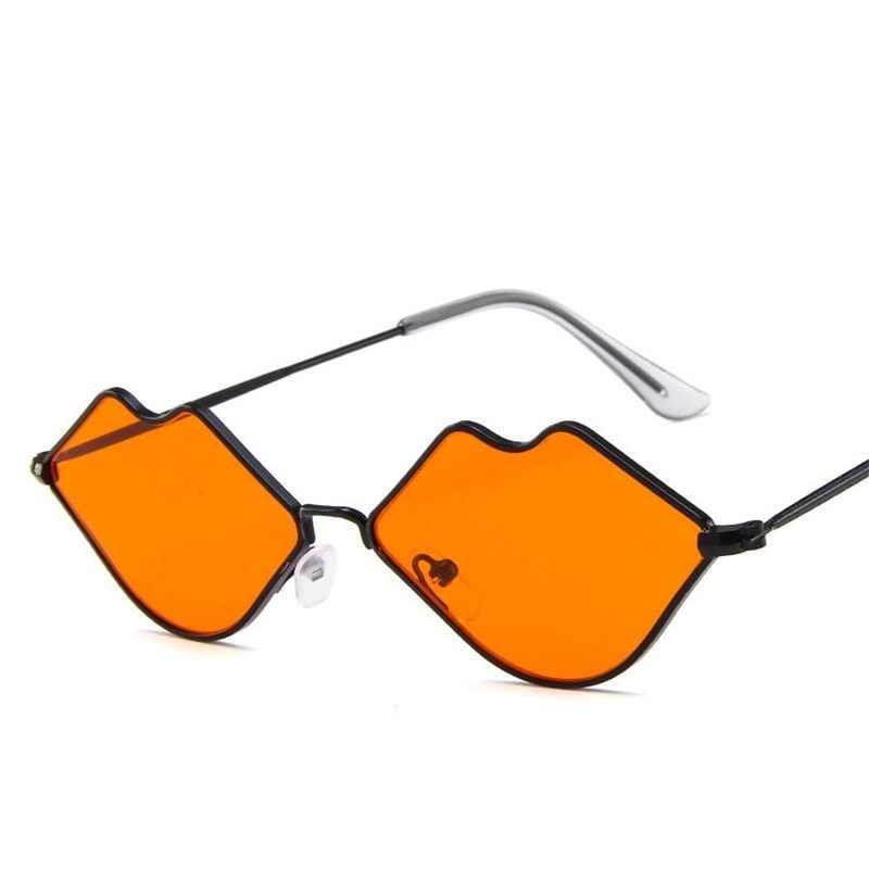 Seksi Bibir Merah Kacamata Hitam Merah Herat Berbentuk Vintage Sun Kacamata untuk Wanita Pesta Berjemur Kacamata Wanita Kacamata UV400