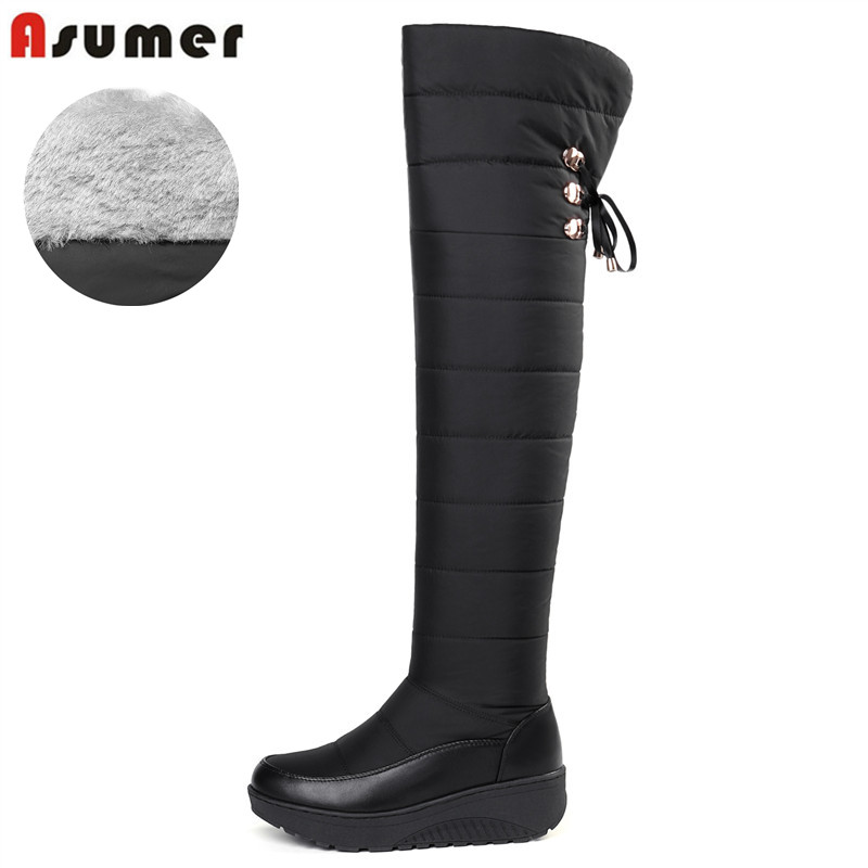 ASUMER 2020 Cotton fashion waterproof snow boots women s over the knee boots wedges winter booties