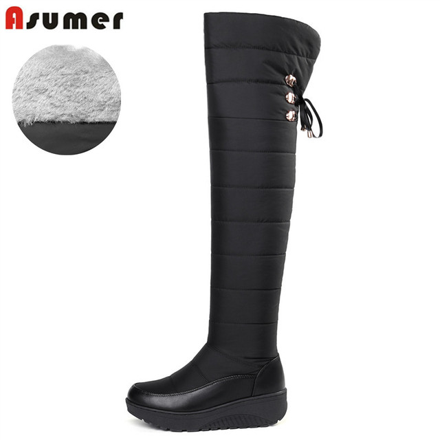 ASUMER 2018 Cotton fashion waterproof snow boots women s over the knee boots  wedges winter booties platform 1662dacc61