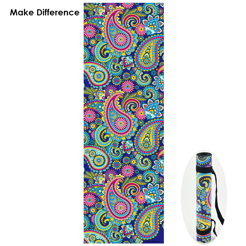 Make Difference Indian Floral Paisley Design Pilates Yoga Mats Non-slip Natural Rubber Exercise Gym Fitness Mat with Strap 3.5mm dmasun slip resistant yoga blanket good quality gymnastics yoga mat towel non slip fitness bikram towels
