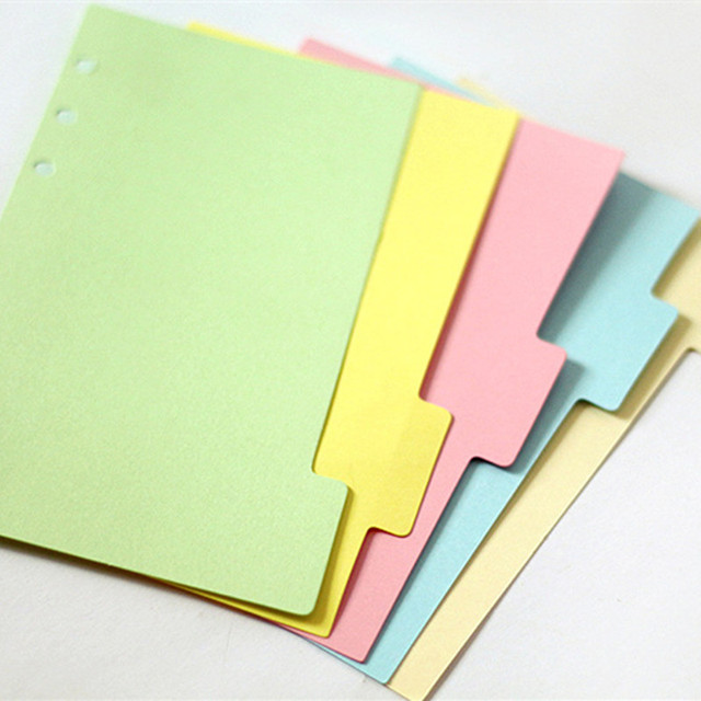 5pcs set a5 colored binder index page for loose shell notebook