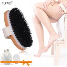 CLPAIZI Shower Body Bath Brush with Natural Horses Mane, Wooden Massage Exfoliation Dry brush, Perfect for Skin D30