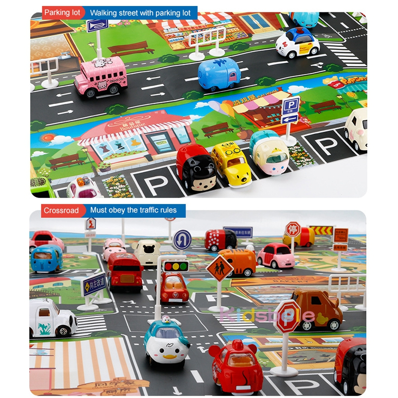 Image 4 - Children Playing Mat Floor Game Baby Crawling Mat Pad 130*100CM Waterproof Kids Dinosaur City Car Parking Lot Traffic Boy Toys-in Floor Games from Toys & Hobbies