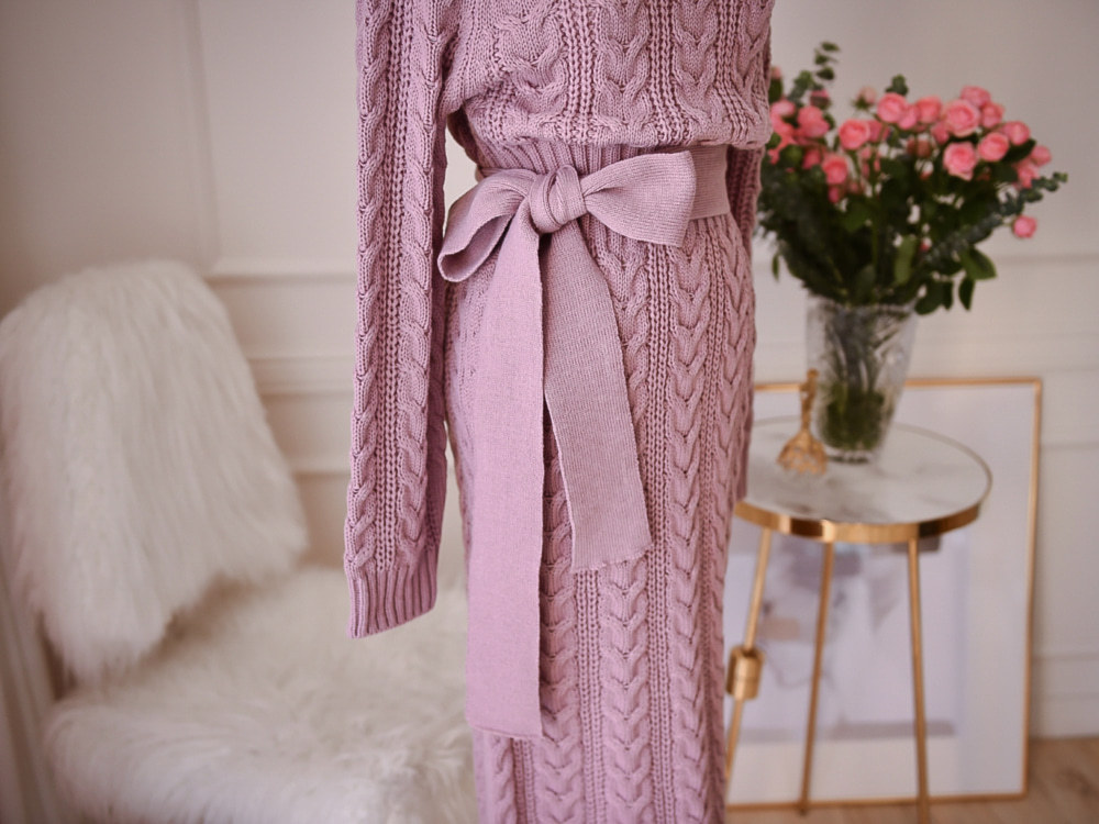 19 Winter Temperament Bursting Elegant Lace Waist Twist High Collar Knit Bottoming Sweater Dress dropshipping 15