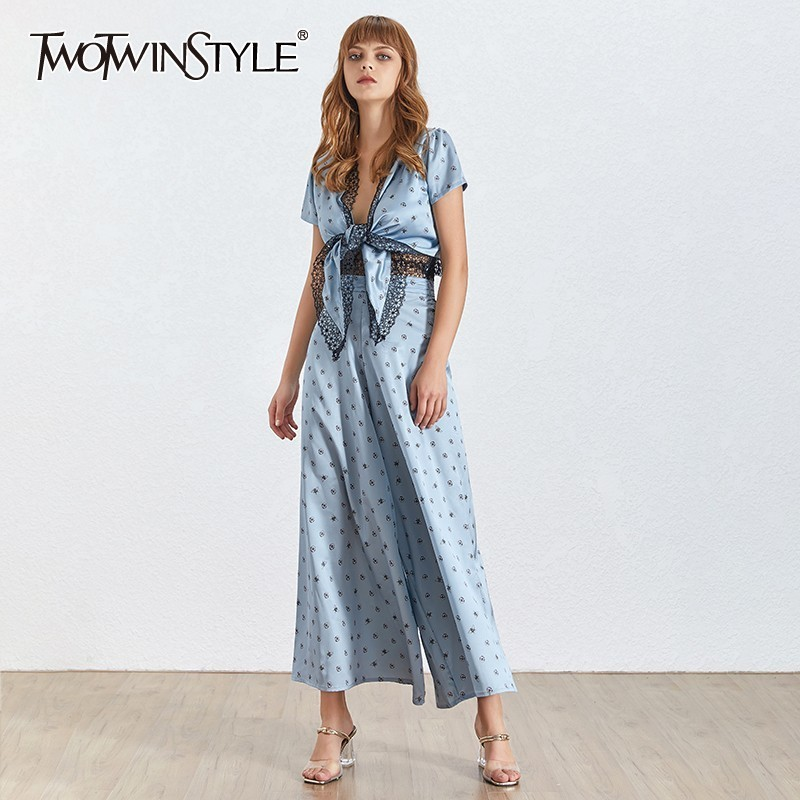 TWOTWINSTYLE Lace Patchwork Print Women Two Piece Set V Neck Short Bowknot Crop Tops High Waist