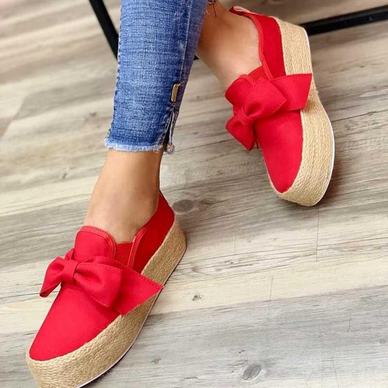 Wenyujh Mùa Xuân Đế Phẳng Giày Nền Tảng Giày 2019 Slip On Nơ Da Phẳng Da Lộn Nữ Cho Nữ Mộc Mạch Trà Giày Thường