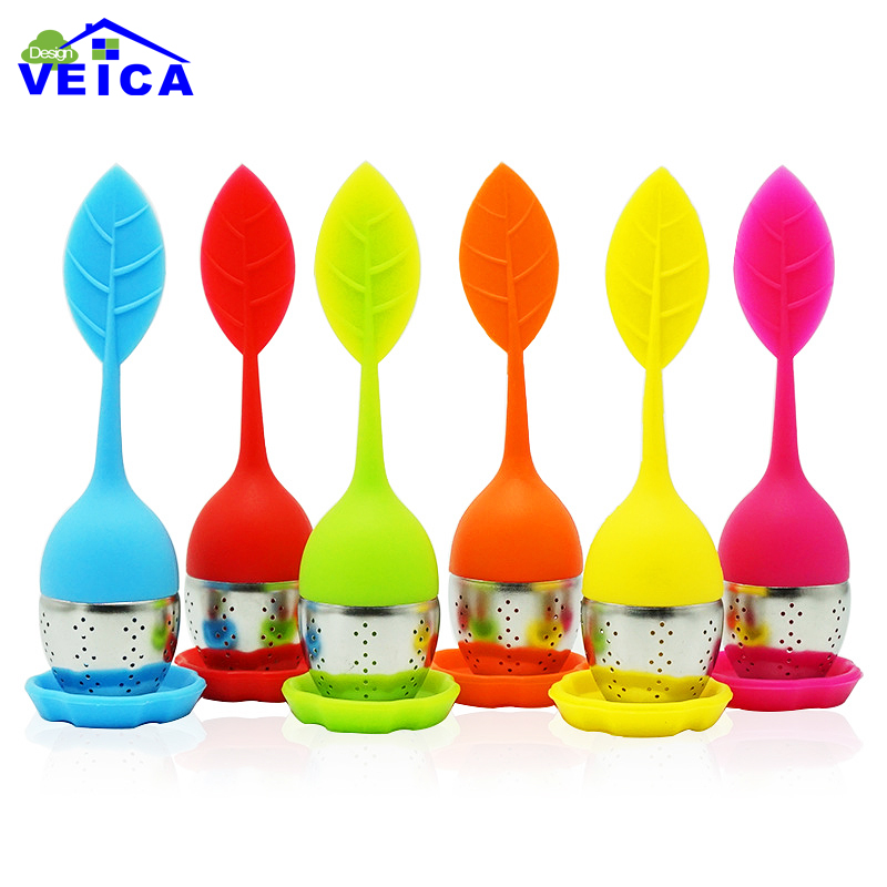 New Cute Silicone & Stainless Steel Leaf Tea Strainer Infusor Teaspoon Infuser Spice Filter Teteras Tea Accessories