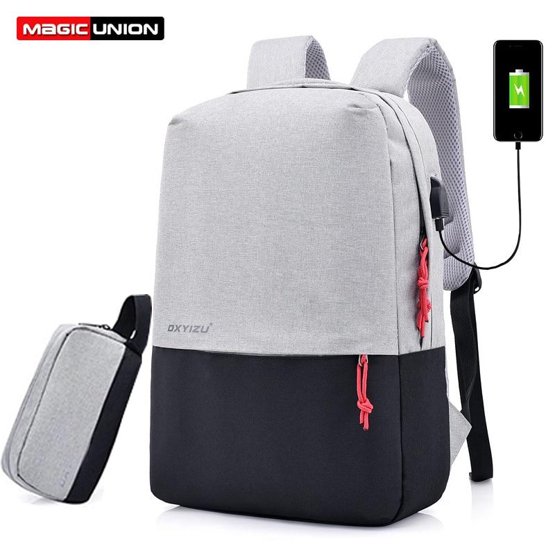 Backpack School-Bag Mochila Laptop Teenagers College UNION Escolar MAGIC Patchwork Usb-Charging