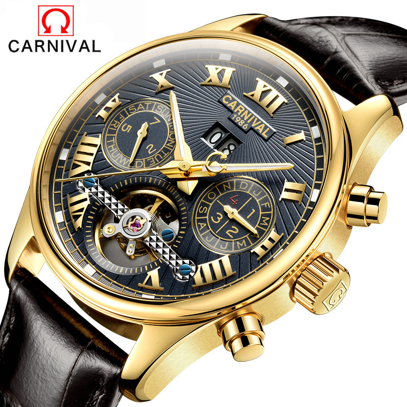 Relojes Watches Men Top Brand Luxury Carnival Tourbillon Automatic Mechanical Watch Mens Fashion sport clock relogio masculino relojes hombre 2017 mens watches top brand luxury carnival simple relogio automatico masculino dress stainless steel gift clock