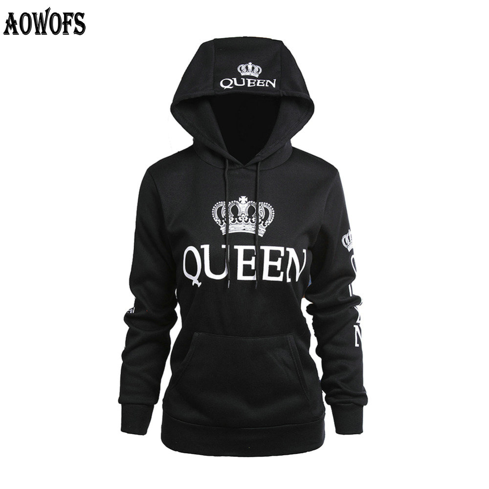 2018 QUEEN KING printed hooded lovers sweatshirt long-sleeved couples sweatvest hoodies casual sweatshirts for women men M -XXL ...