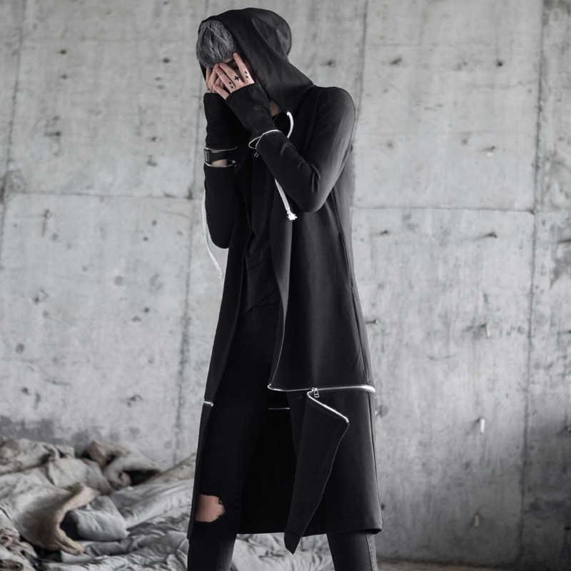 714533a9 Платье Для мужчин с капюшоном японский Длинная толстовка негабаритных  Hakaruku Street Стиль хип-хоп Мэнтл