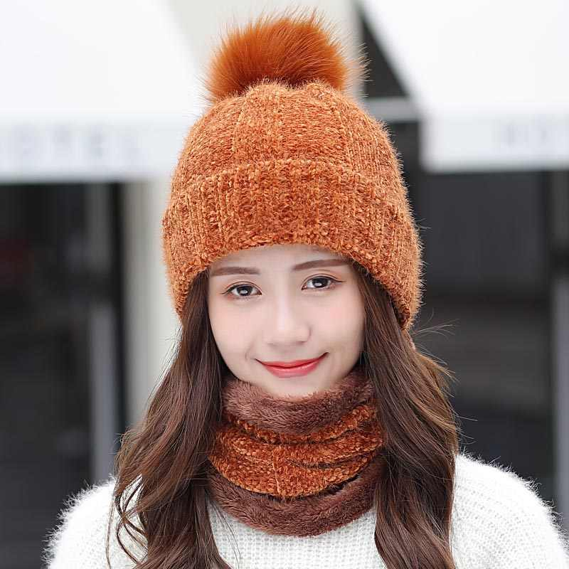 893ee4d8f Detail Feedback Questions about Ski Hat Female 2018 Chenille Knitted ...