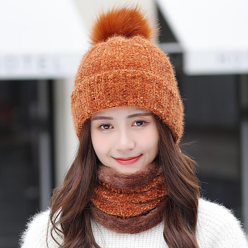 New Winter Women Warm Chenille Knitted Hat Scarf Two Pieces Set Fashion Girl Fur Pom Poms Ball   Beanie   Caps Female Casual Ski Hat