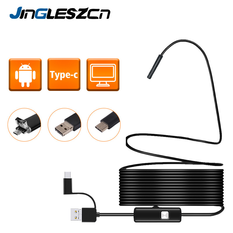 3 In 1 Semi-rigid USB Endoscope Camera 5.5MM IP67 Waterproof Snake Camera With 6 Led For Windows & Macbook PC Android Endoscope
