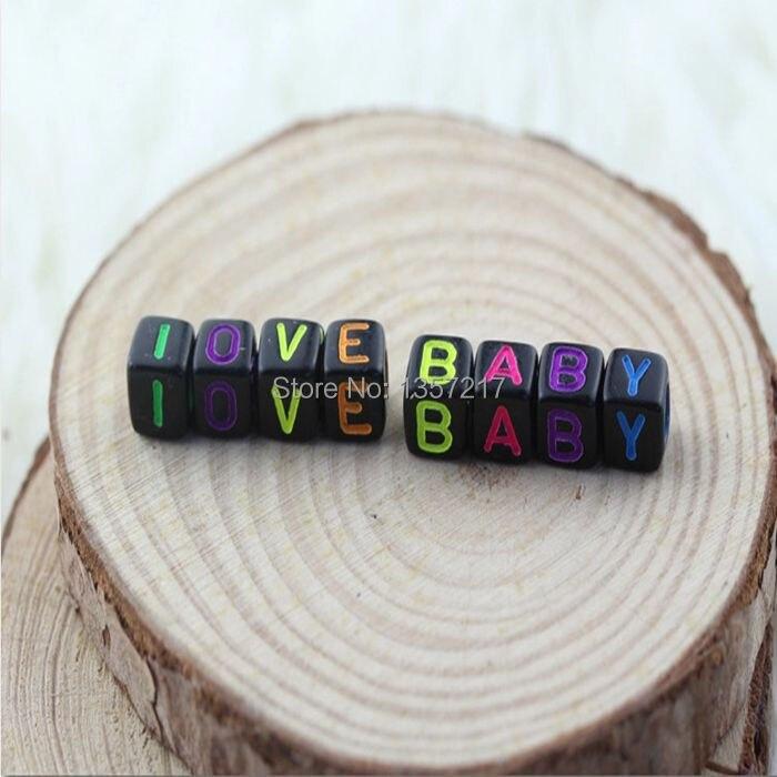 Любовь детские 6 мм 100 шт./лот Смешанный Красочный Алфавит/Письмо Акриловые Cube Бусины для DIY Loom резинками Браслеты с подвесками