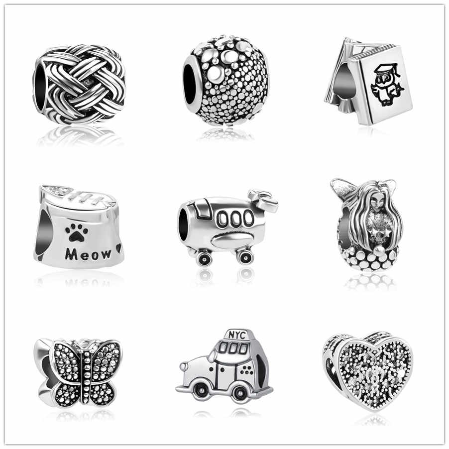 european 1pc butterfly car book  bead charms Fit Pandora Charms  925 Bracelet for women men diy jewelry EL085