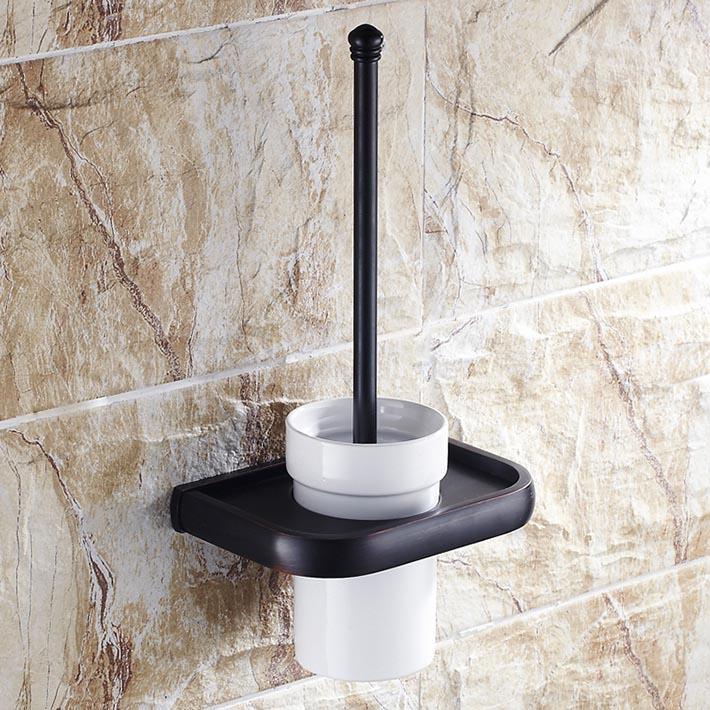 Wall Mounted Black Polished Finish Bathroom Accessories Toilet Brush Holders Ceramics Cup Oil Rubbed Bronzeescobillero wc