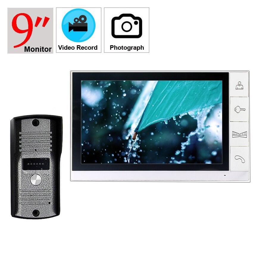 9 Inch Video Door Phone Intercom System 700TVL Color Camera  Unlock Video Doorphone System