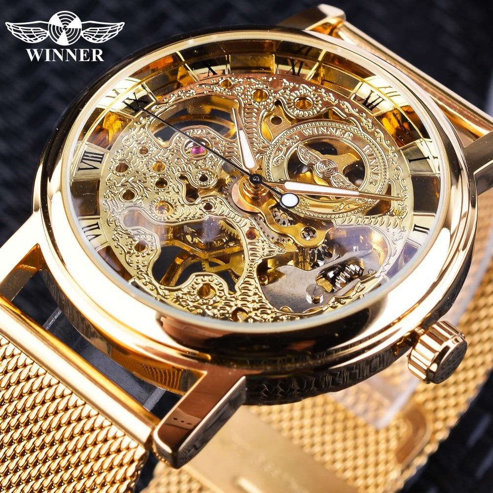 Winner Thin Case Full Golden Design Retro Openwork Clock Mesh Band Men s Mechanical Watches Top Innrech Market.com