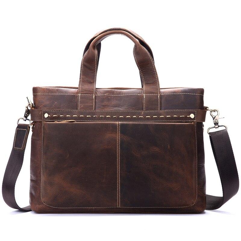 Nesitu Vintage A4 Brown Genuine Leather Men Briefcase Thick Crazy Horse Leather Shoulder Messenger Bags Male