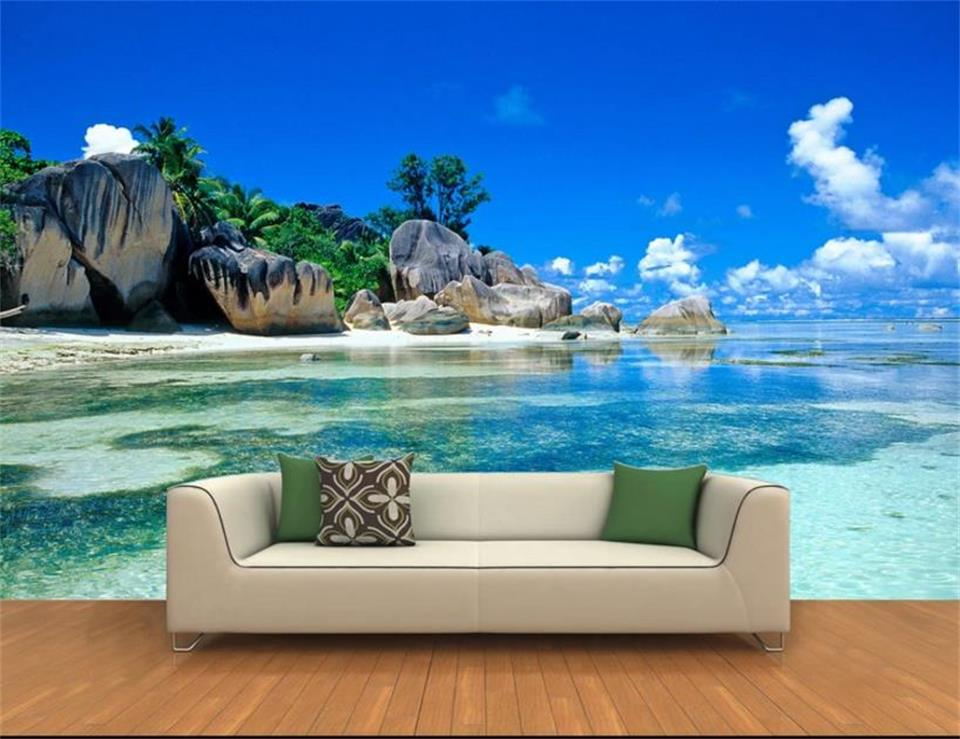 Custom 3D Photo Wallpaper Mural Non-woven Living Room TV Sofa Backdrop Wall paper Ocean Sea Beach Picture Wallpaper Home Decor custom 3d photo wallpaper mural non woven living room tv sofa background wall paper abstract blue guppy 3d wallpaper home decor