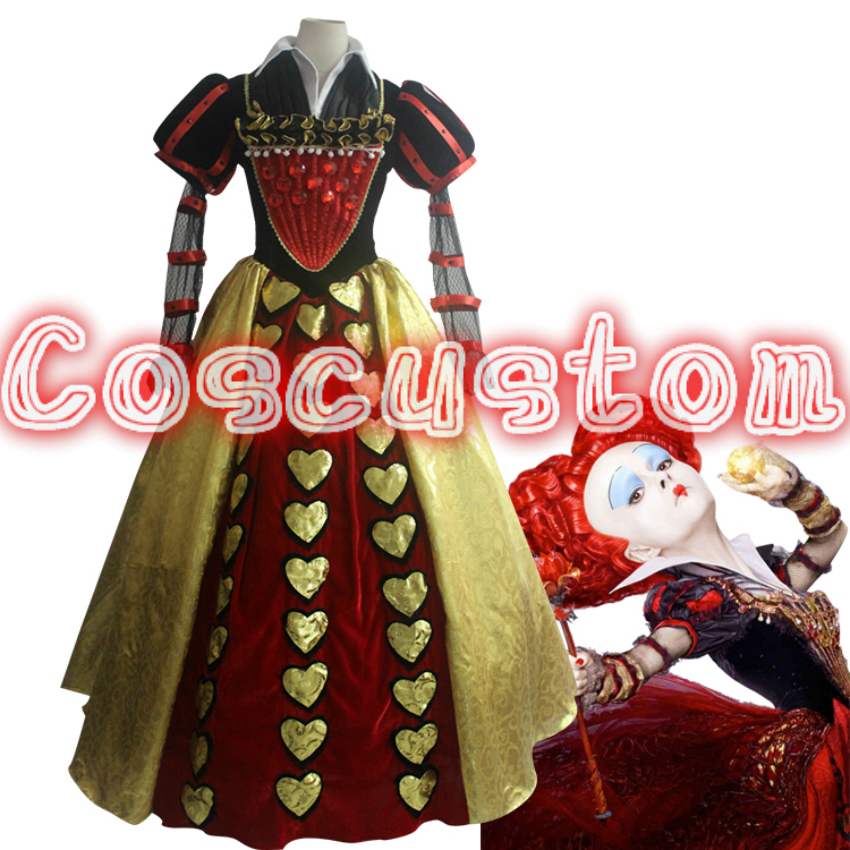 Coscustom High Quality Alice In Wonderland 2 Red Queen cosplay costume adult women The Red Queen dress fancy Queen costume