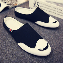 Baotou half slippers male summer lazy bean shoes breathable canvas tide Korean version of the trend