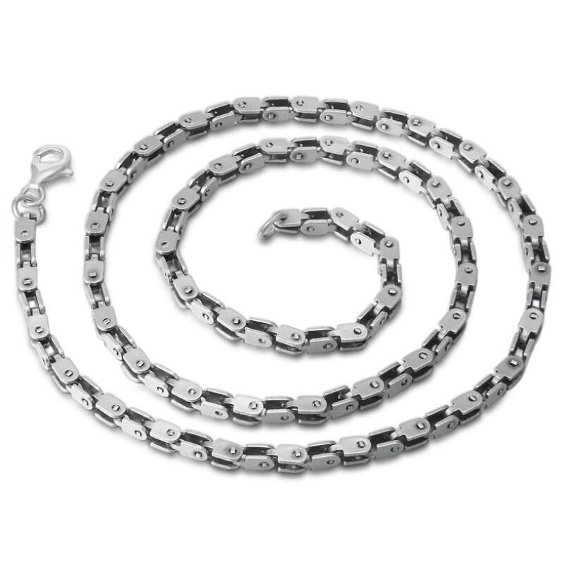 Pur argent S925 Sterling 925 argent collier pour hommes Section grossière chaîne en bambou carré tendance accessoires (FGL)