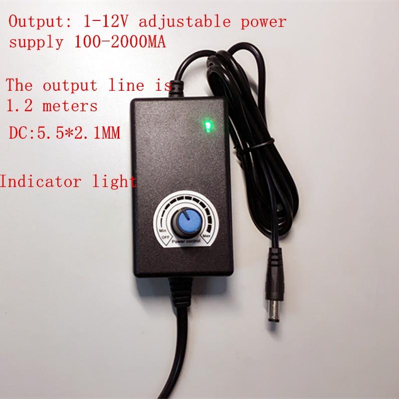 10PCS EU US 1-12V adjustable power supply 100-2000MA switching stepless voltage regulation power supply DC12V 100-240VAC 1.2+1.