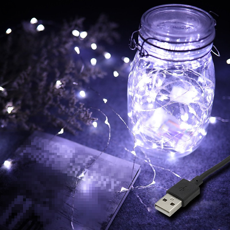 New Year USB Powered 5M 10M LED String Lights Silver Wire Fairy Garland For Wedding Christmas Party Home Indoor Decoration