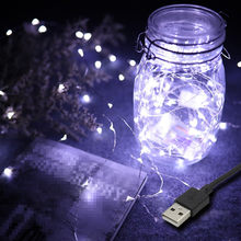 New Year USB Powered 5M 10M LED String lights Silver Wire Fairy Garland For Wedding Christmas Party Home Indoor Decoration(China)