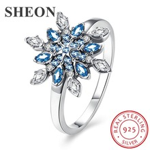 SHEON 100% 925 Sterling Silver Dazzling Multicolor Snowflake Cubic Zirconia Finger Rings for Women Wedding & Engagement Jewelry