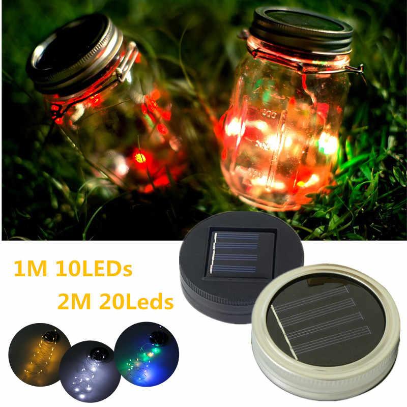 Smuxi LED Fairy Light Solar Powered For Mason Jar Lid Insert Light LED Fairy String Wire Lamp Color Changing Garden Decor