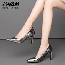春の新作 ISNOM エンボス牛革パンプス女性ポインテッドトゥ靴浅いオフィス靴女性のハイヒールの靴 2019