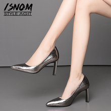 ISNOM Emboss جلد البقر مضخات النساء أشار تو الأحذية الضحلة مكتب الأحذية الإناث عالية الكعب أحذية امرأة 2019 ربيع جديد