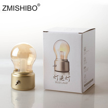 ZMISHIBO Vintage USB LED Bulb Night Light Amber Glass 5V Rechargeable Battery Portable Lighting Fixtures Bedside Table Desk Lamp