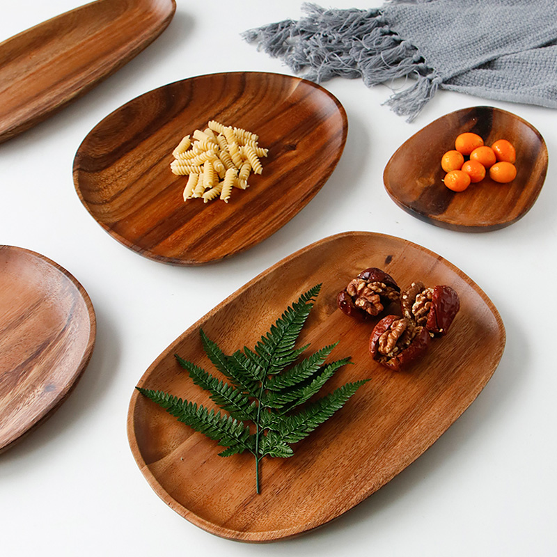 Wooden Plate Irregular Acacia Wood Plate Cake Dish Fruit Dessert Serving Platter Wood Tray Sushi Plate Small Coffee Tea Tray Wood Tableware (1)