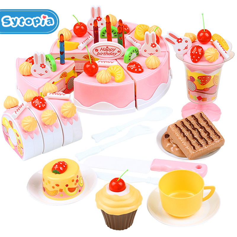 75pcs Birthday Cake DIY Model Children Kids Early Educational Classic Toy Pretend Play Kitchen Food Plastic Toy birthday cake