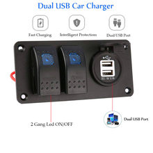 5 Pin 2 Gang Switch Panel 12 ~ 24 V Dual USB Charger 3.1A Tahan Air Mobil Kapal Laut LED Rocker switch Panel(China)