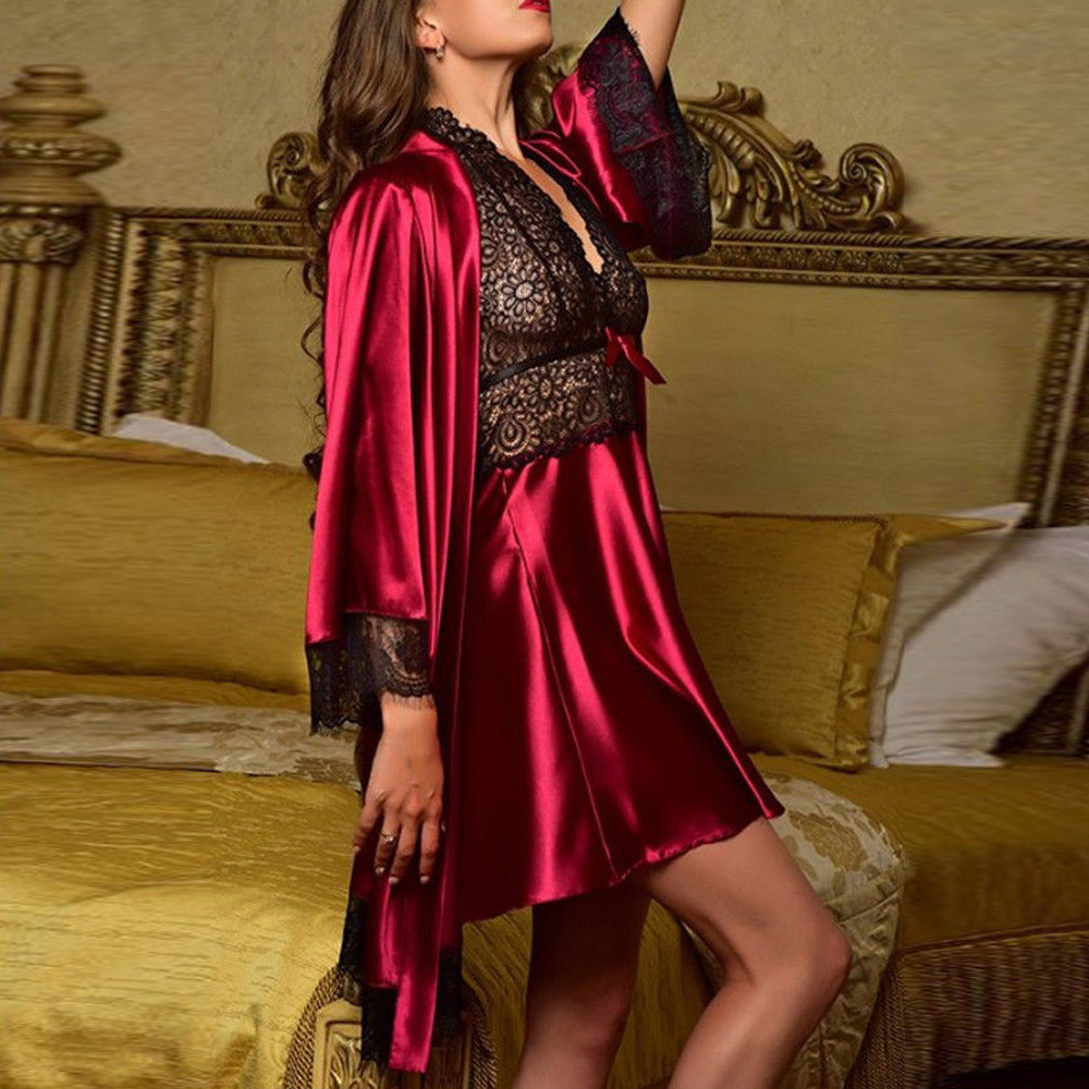 2019 2pcs Women Sexy Satin Lace Sleepwear Babydoll Lingerie Nightdress Pajamas Set lingerie pyjamas women lingerie Hot Sale 34