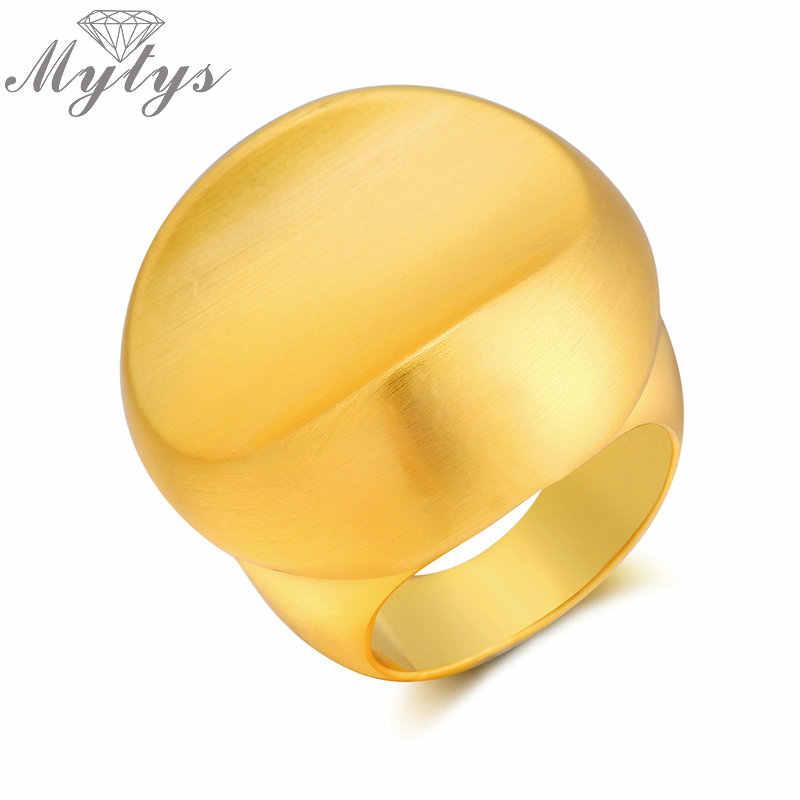 9129be153c24 Mytys moda metal oro amarillo Anillos de color para señora geométrica gran  Declaración anillo cóctel joyería