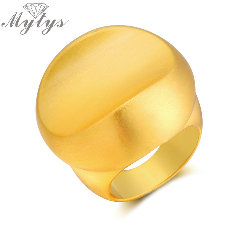 Mytys Fashion Metal Yellow Gold Color Rings for Lady Geometric Big Statement Ring Cocktail Party Jewelry Accessory R1978 R1980